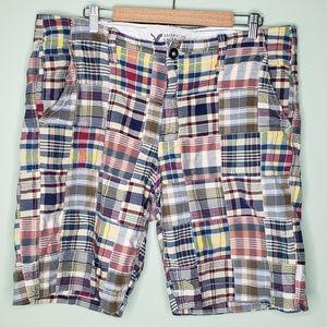 American Eagle mens plaid madras patchwork shorts